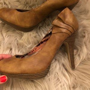 Madden Girl tan platform heels